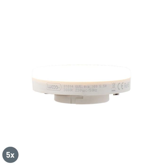 Sada-5-LED-žárovky-GX53-5,5-W,-470-lumenů,-3000-K.