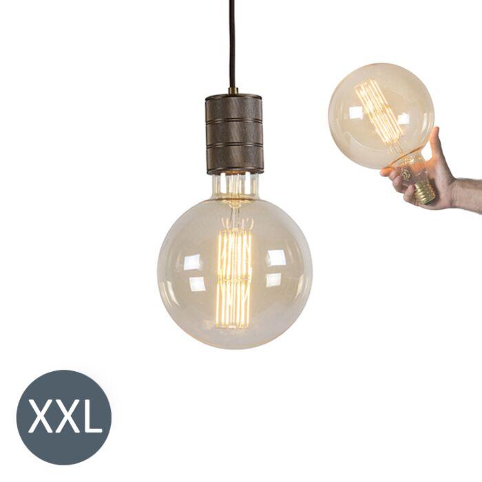Závěsná-lampa-bronzová-Megaglobe-se-stmívatelnou-LED-lampou