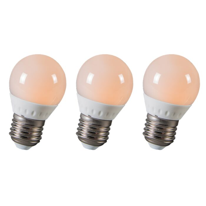 LED-kulička-E27-3W,-250-lumenů,-přibližně-25W,-sada-3