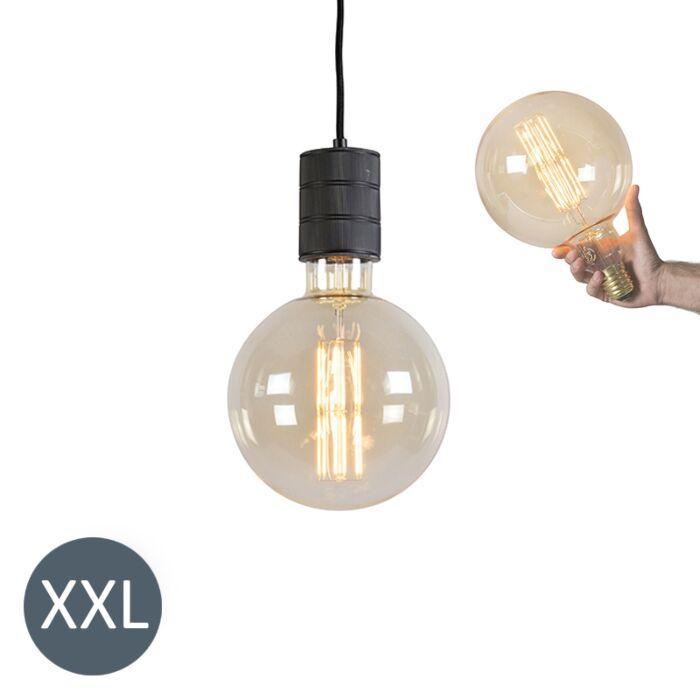 Závěsná-lampa-Megaglobe-černá-se-stmívatelnou-LED-lampou