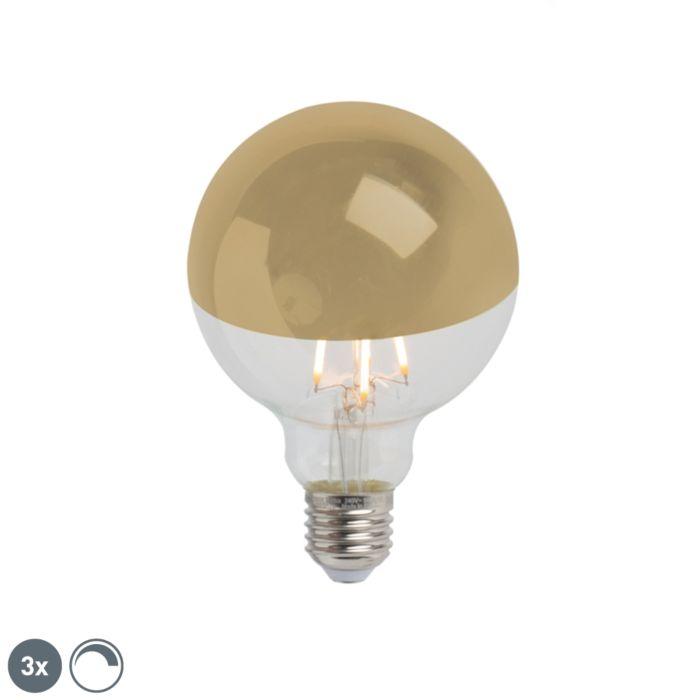 Sada-3-E27-stmívatelných-LED-polozrcátek-G95-zlatých-280lm-2300K