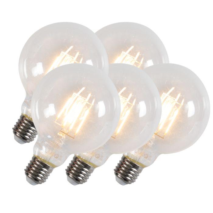 Sada-5-LED-žárovek-G95-E27-6W-600-lumenů