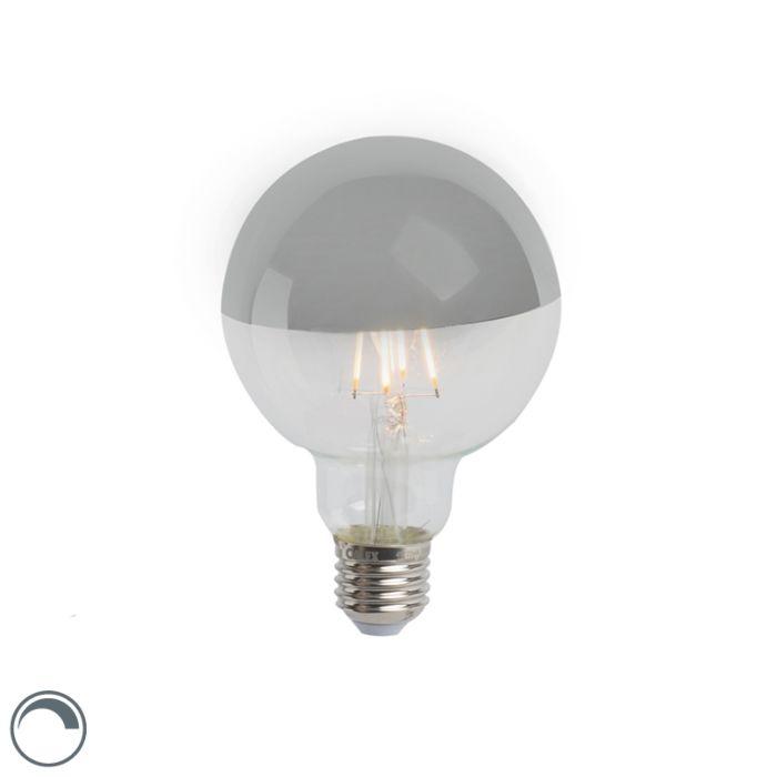 Zrcadlo-s-LED-žárovkou,-reflektor-stříbrné-E27-240V-4W-280lm-2300K-G95-stmívatelné