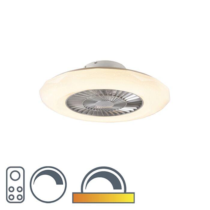 Stříbrný-stropní-ventilátor-vč.-LED-se-stmívatelným-hvězdným-efektem---Clima