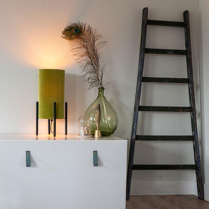 Designová-stolní-lampa-černý-sametový-odstín-zelená-se-zlatem---Rich