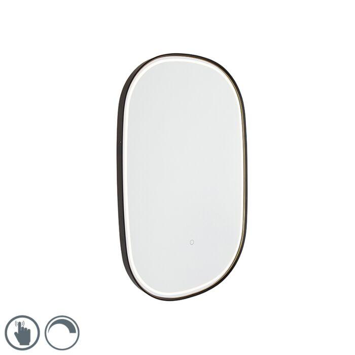 Koupelnové-zrcadlo-černé-vč.-LED-s-dotykovým-stmívačem-ovál---Miral