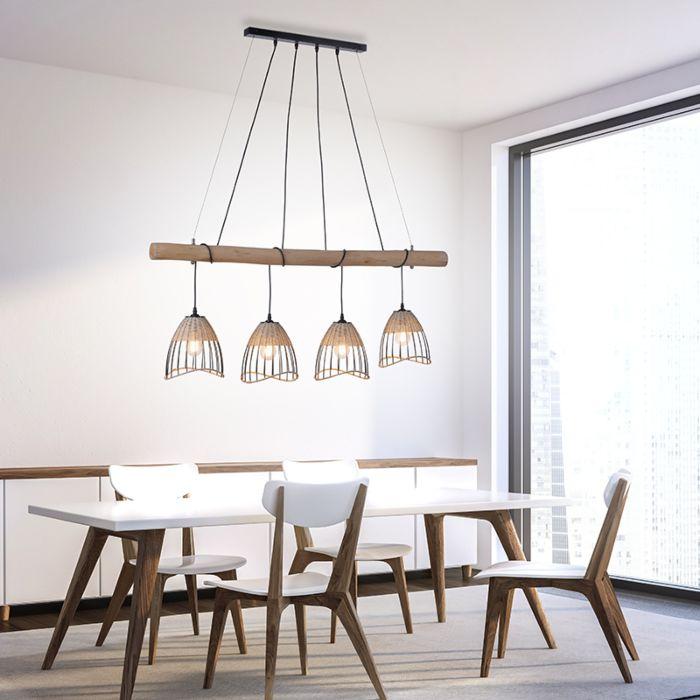 Venkovská-závěsná-lampa-černá-s-ratanovým-světlem-4---Treccia-Pua