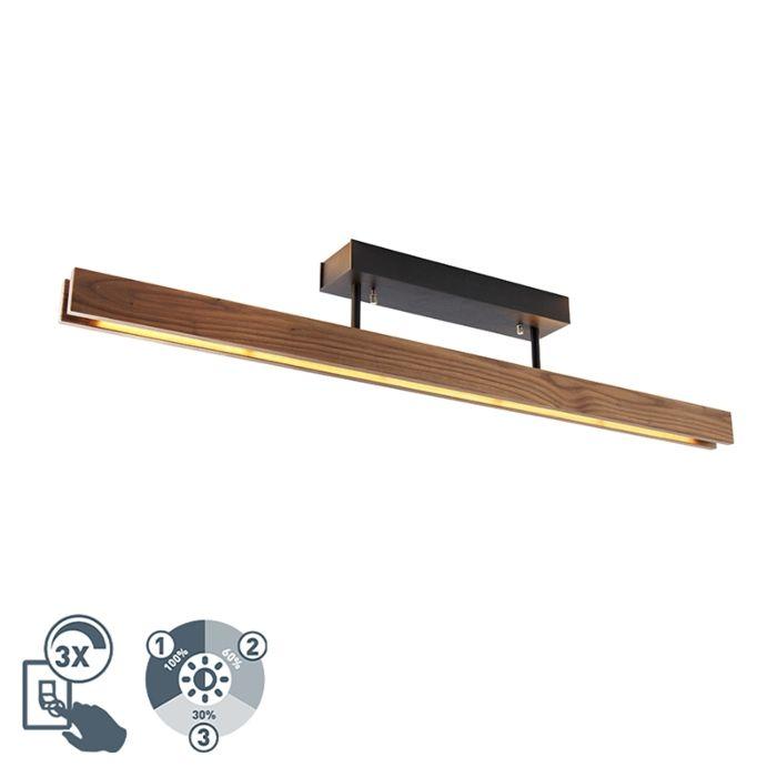 Venkovské-stropní-svítidlo-dřevěné-včetně-LED-3stupňového-stmívatelného---Holz