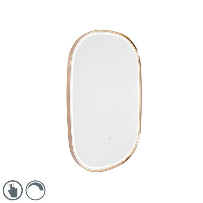Zrcadlo-do-koupelny-měděné-včetně-LED-s-dotykovým-stmívačem-ovál---Miral