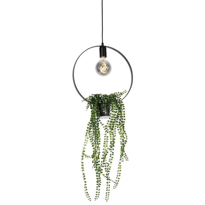 Moderní-závěsná-lampa-černá-11,5-cm---Roslina