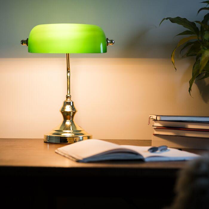 Klasická-stolní-lampa-/-notářská-lampa-mosaz-se-zeleným-sklem---Banker