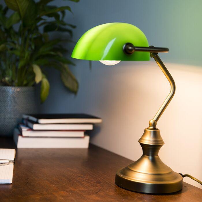 Klasická-stolní-lampa-/-notářská-lampa-bronzová-se-zeleným-sklem---Banker