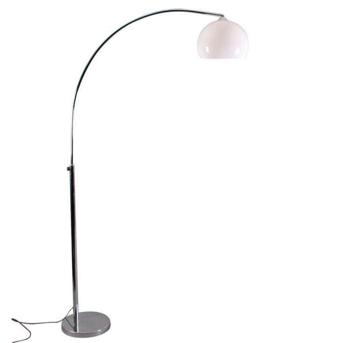 Malá-chromová-oblouková-lampa-s-bílým-stínidlem
