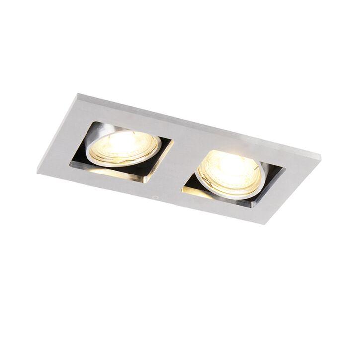 Obdélníkové-zapuštěné-bodové-světlo-2-světlý-hliník---Qure