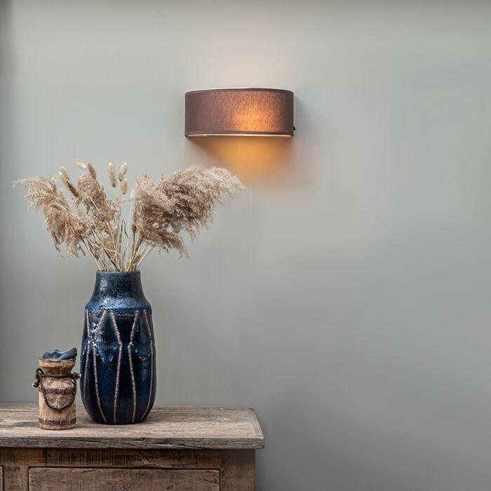 Venkovská-nástěnná-lampa-půlkulatá-hnědá---buben
