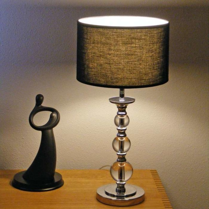 Stolní-lampa-Calabash-chrom-s-černým-odstínem