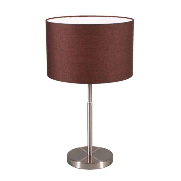Stolní-lampa-Bubnová-ocel-s-hnědým-odstínem