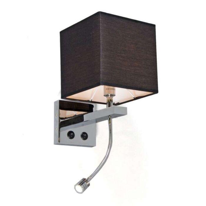 Nástěnná-lampa-Brescia-chrom-s-černým-odstínem