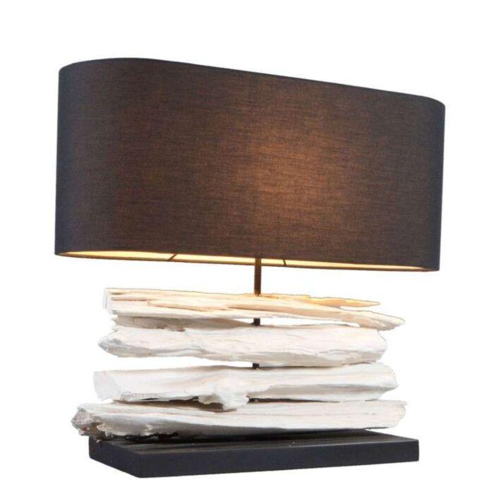 Stolní-lampa-Satun-středně-bílá-s-černým-odstínem