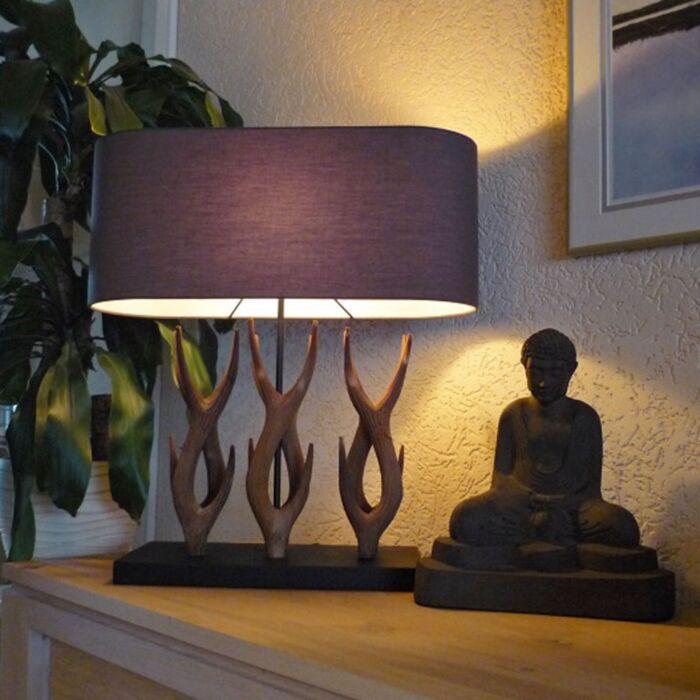 Venkovská-stolní-lampa-Yindee-Recta-s-hnědým-odstínem