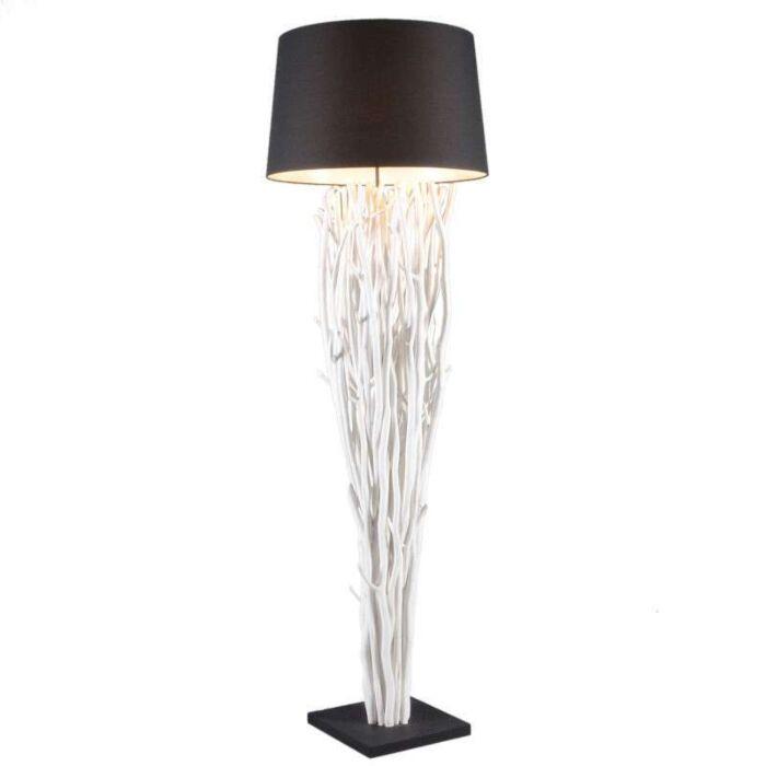 Stojací-lampa-Phatom-bílá-s-černým-odstínem