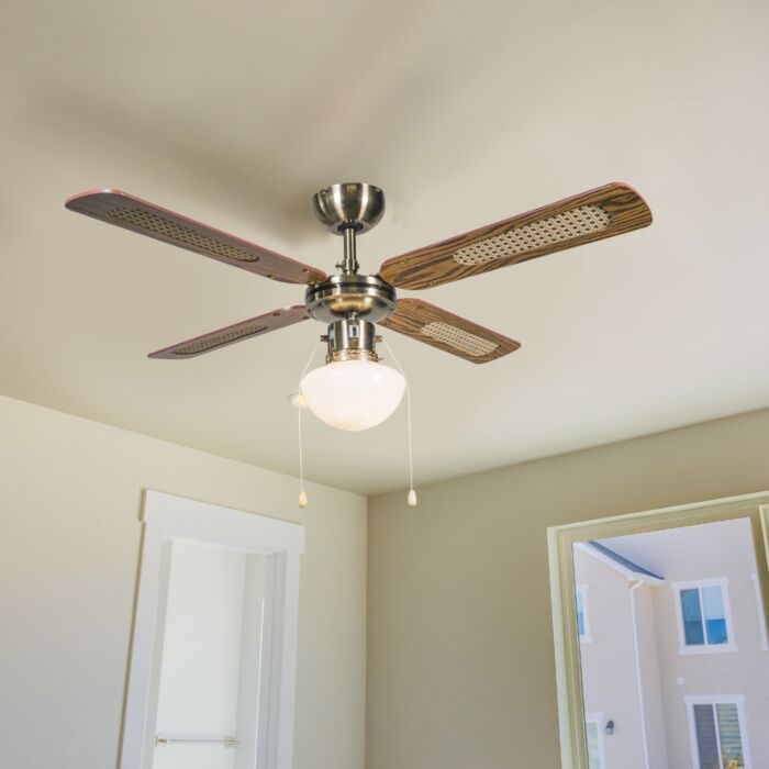 Průmyslový-stropní-ventilátor-s-lampou-100-cm-dřevo---Wind
