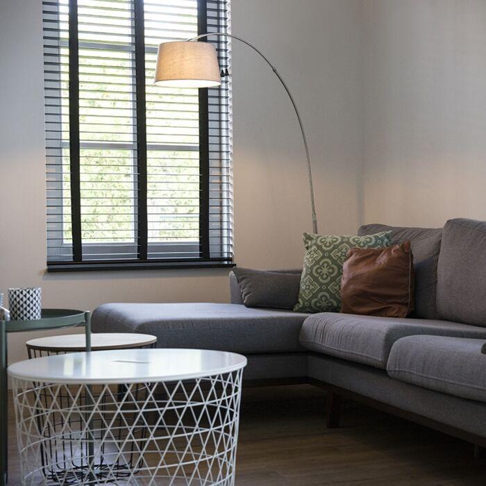 Moderní-oblouková-lampa-z-oceli-s-odstínem-bílé-látky---Arc-Basic