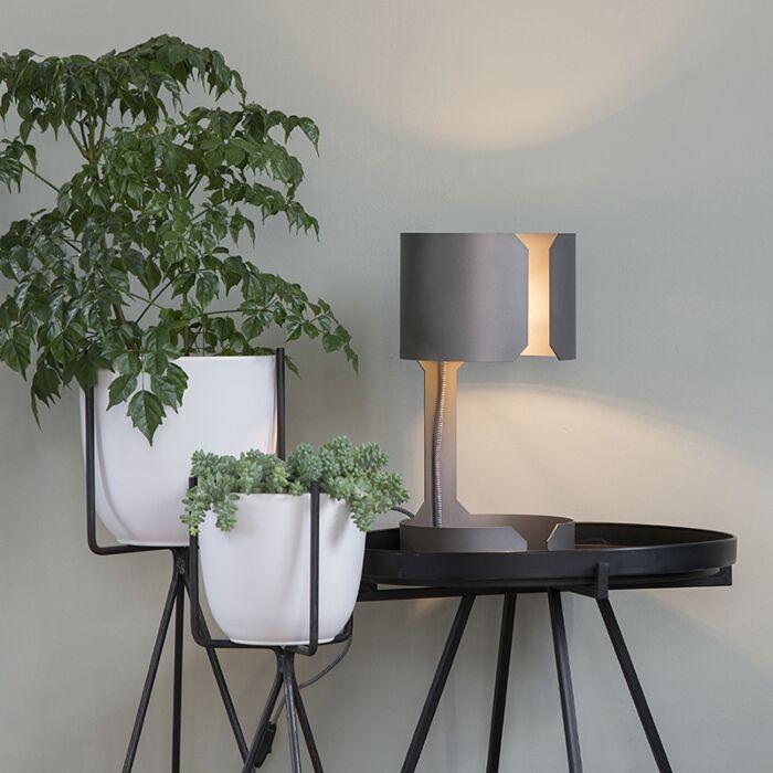 Designová-stolní-lampa-matná-ocel---valčík