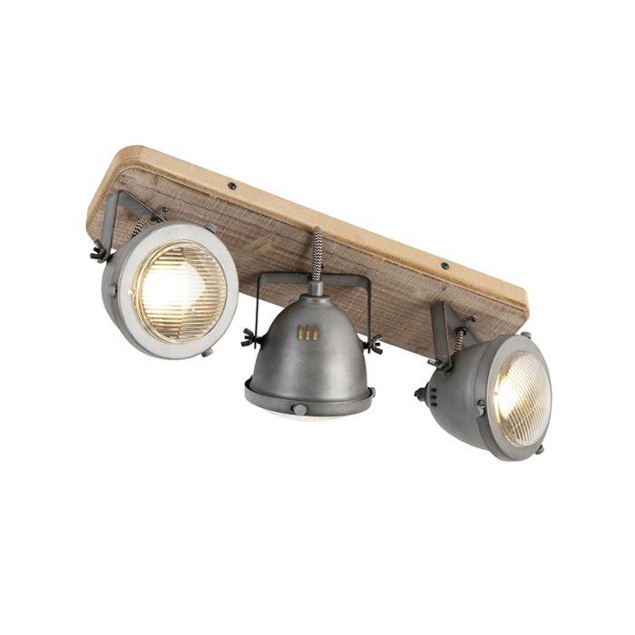 Průmyslová-bodová-ocel-se-sklopným-dřevem,-3-světla---Emado
