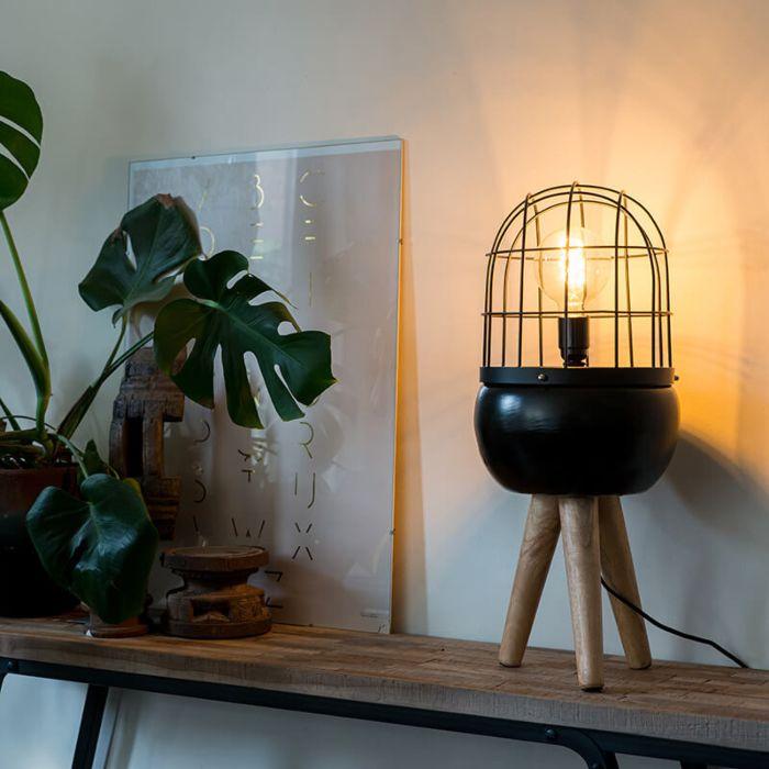 Moderní-stolní-lampa-černá-na-dřevěném-stativu---Ptáci