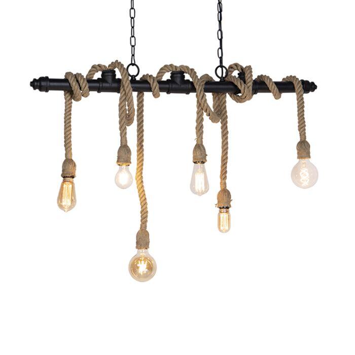 Průmyslová-závěsná-lampa,-černá,-6-světel,---množné-číslo