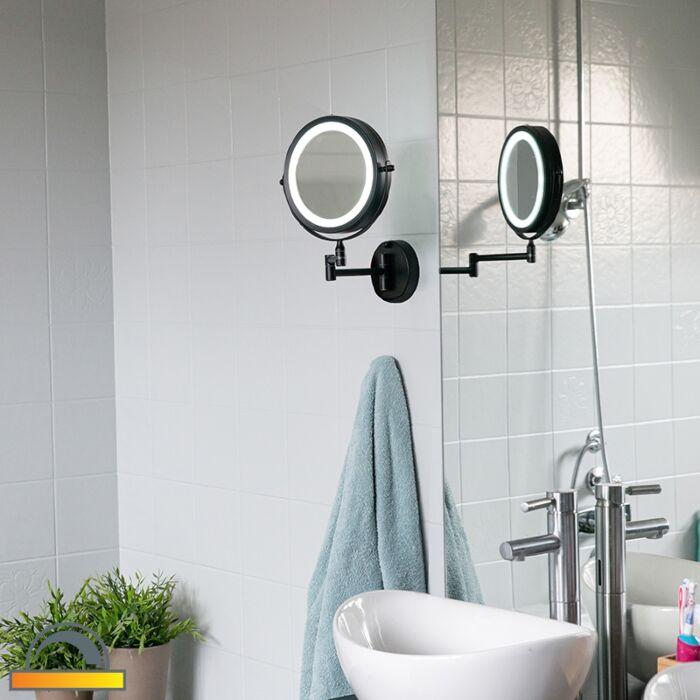 Designové-koupelnové-zrcadlo-černé-včetně-LED-nastavitelného-IP44---Vicino