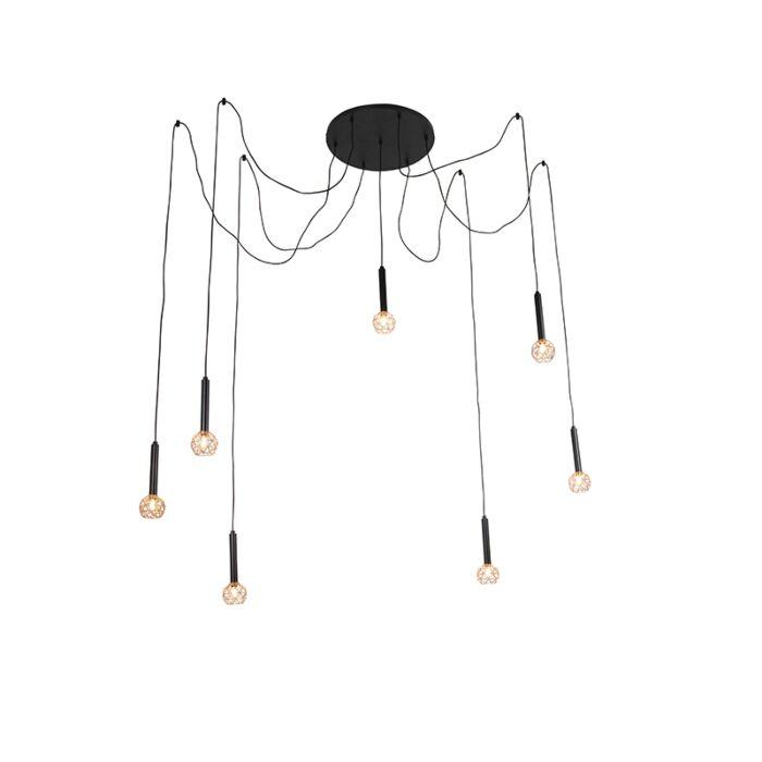 Závěsná-lampa-černá-s-měděnými-7-světly---Mesh