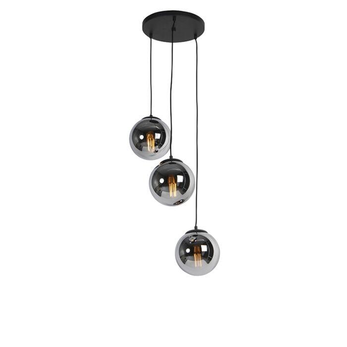 Art-Deco-závěsná-lampa-černá-s-kouřovým-sklem-3-světlo---Pallon