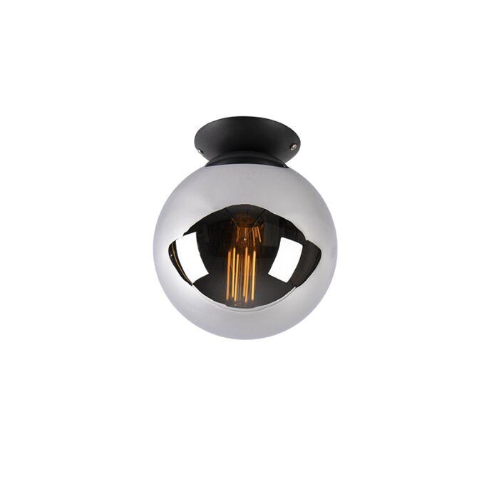Stropní-lampa-ve-stylu-art-deco-černá-s-kouřovým-sklem---Pallon