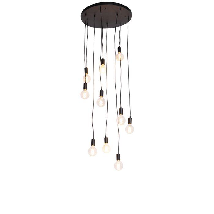 Moderní-závěsná-lampa-černá-60-cm-10-světel---Facil