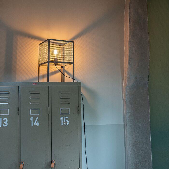 Průmyslová-stolní-lampa-starožitné-stříbro---Cage-Robusto