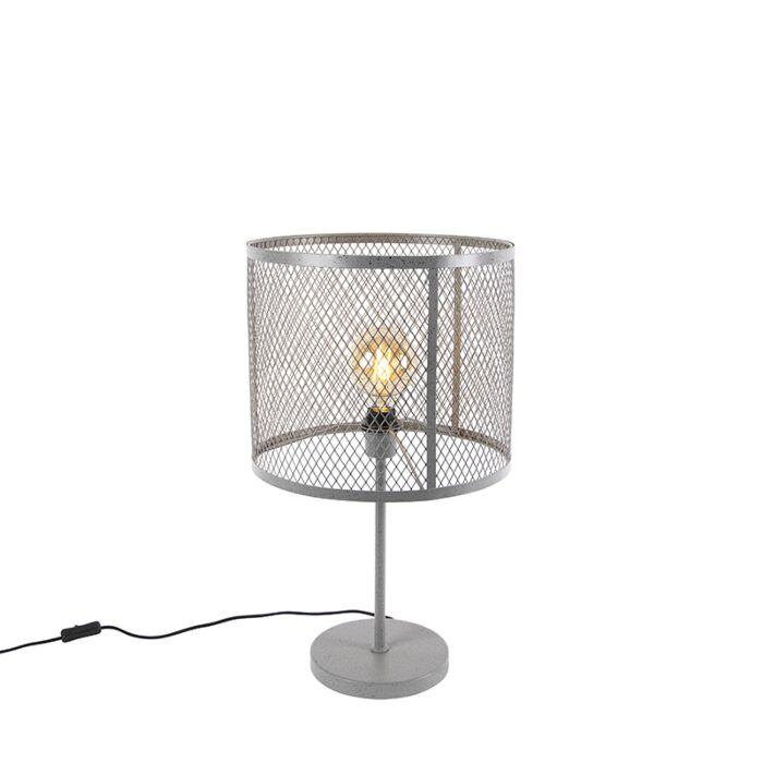 Průmyslová-kulatá-stolní-lampa-starožitné-stříbro---Cage-Robusto
