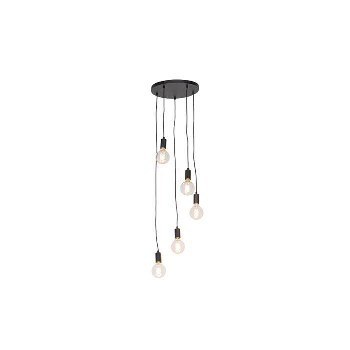Moderní-závěsná-lampa-černá-35-cm-5-světlo---Facil