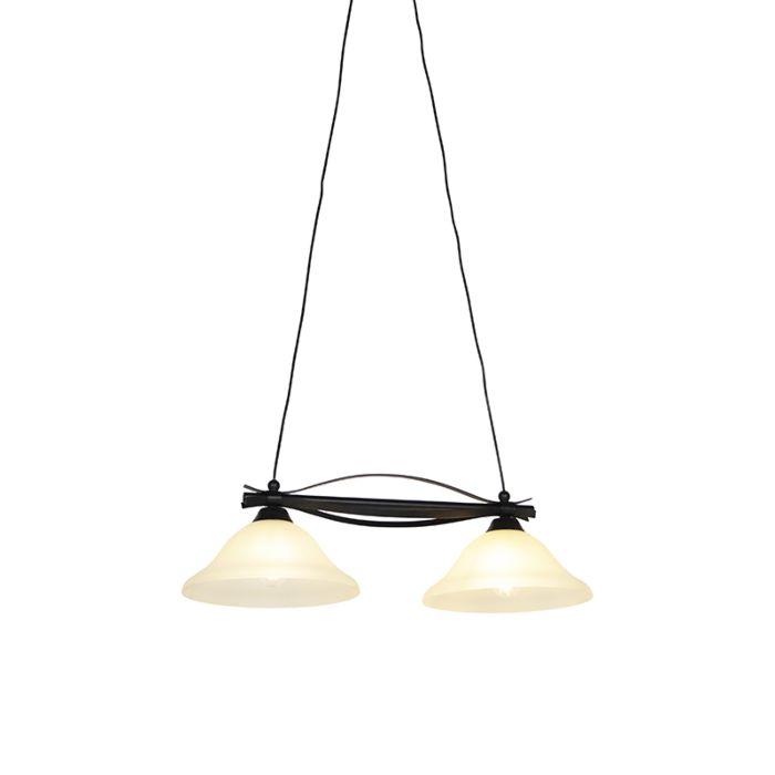 Klasická-závěsná-lampa-hnědá-s-béžovým-sklem-2-světlo---Pirata